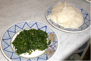 My favourite meal of leafy vegetable mix and sadza